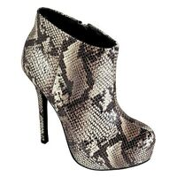 Womens Sm Newyork Size 9.5 Snake Skin High Heels Heel Boots W Zipper On Side