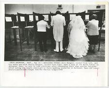 UNUSUAL WEDDINGS BRIDE + GROOM VOTING ORIGINAL VINTAGE 8X10 BW PHOTO