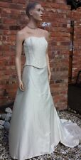 Caroline Parks silk cream ivory champagne gold skirt bodice wedding dress 14