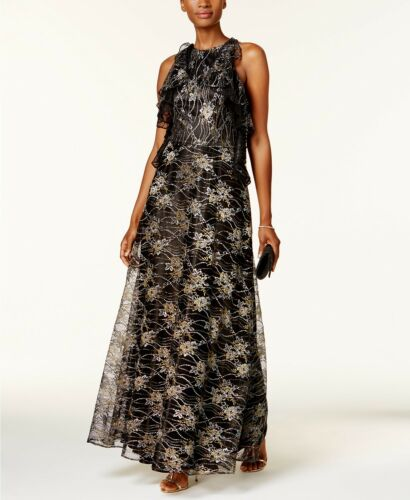 Tahari ASLWOMEN/'S  Metallic Lace GownBLACK//GOLD//BLUSH SIZE 4 MSRP$269.00