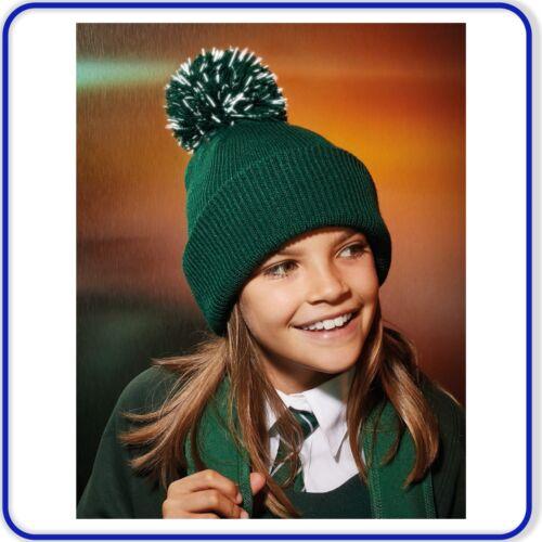 Boys Girls Reflective Beanie Hat Fur Pom Pom Cosy for Winter ideal for School