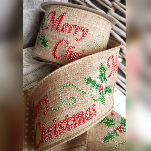 Wired Hessian Merry Christmas /& Holly Ribbon Gift Bow Cake Tree Wreath Red Xmas