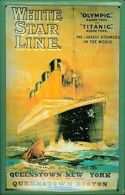 Sensible Titanic White Star Line Yellow Metal Tin Plate Sign Tin Sign 7 7/8x11 13/16in Collectibles