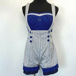 Vintage Styled by Nanina Swimsuit size 36 Blue Checked Pinafore Romper 1950s SW