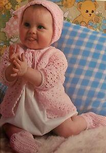 B37-Crochet-Pattern-Beautiful-Baby-039-s-Matinee-Coat-Bonnet-amp-Bootees