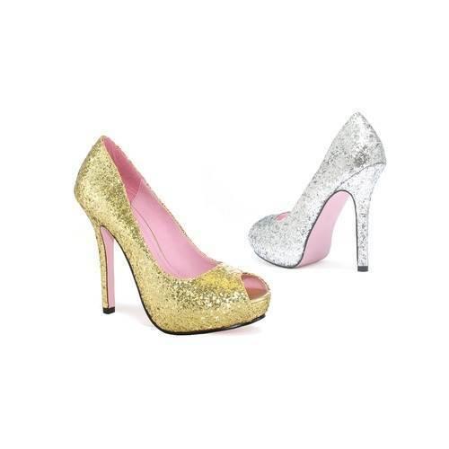 Leg Avenue Ella 5 Inch Platform Open Toe Glitter Pump Platform Inch Heel, 3 Colors! 3425fa