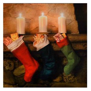 Natale-LED-accendere-TELA-FOTO-festosa-Calze-Wall-Art-Decoration