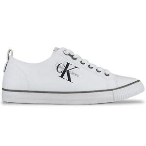Dettagli su Calvin Klein Scarpe Sportive Ck Jeans Arnold di Tela Nero, Bianco S0369