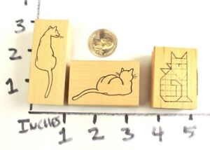Wooden-RUBBER-STAMP-Block-Lot-Cottage-Stamper-Cats-Kitten-Cat