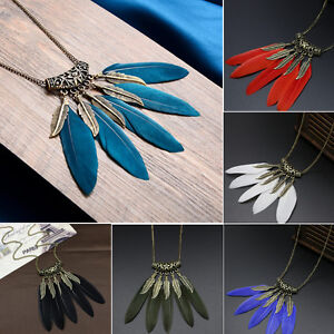 Womens-Vintage-Feather-Leaf-Bronze-Plated-Tassel-Pendant-Long-Bib-Necklace-Chain