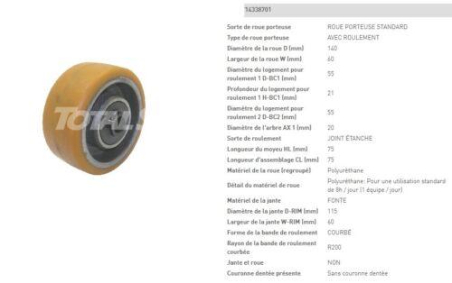 ROUE STABILISATRICE VULKOLLAN TRANSPALETTE ATLET 140 60 75 20 mm