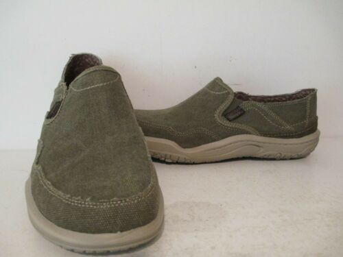 Simple Mens Centric Canvas Fabric Casual Slip On Loafers Olive Sizes 8 9.5 13 M