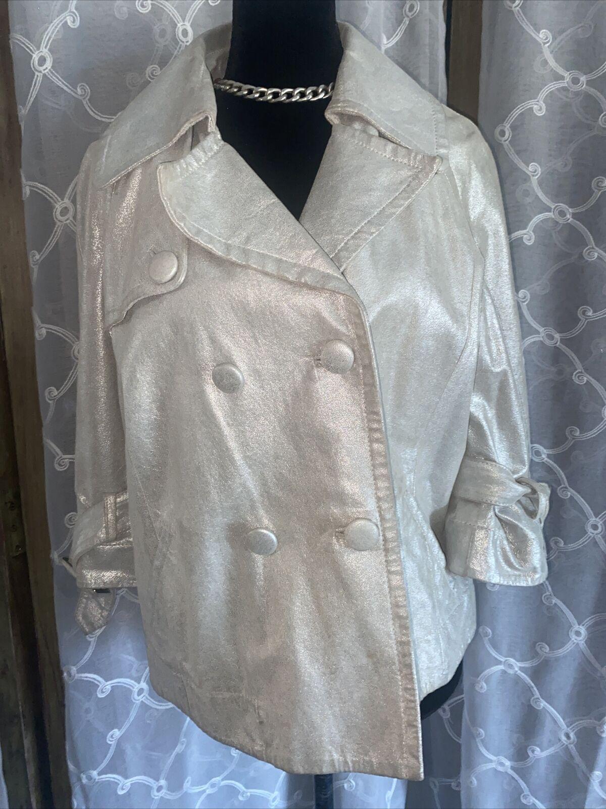 Bagatelle Women Silver Leather Jacket L