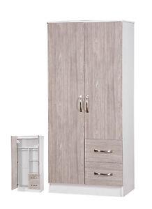 2-Door-Wardrobe-2-Drawers-Combi-Grey-Oak-High-Gloss-amp-White-Ash