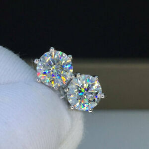 14K-White-Gold-Finish-4Ct-Round-Cut-Moissanite-Screw-Back-Solitaire-Stud-Earring