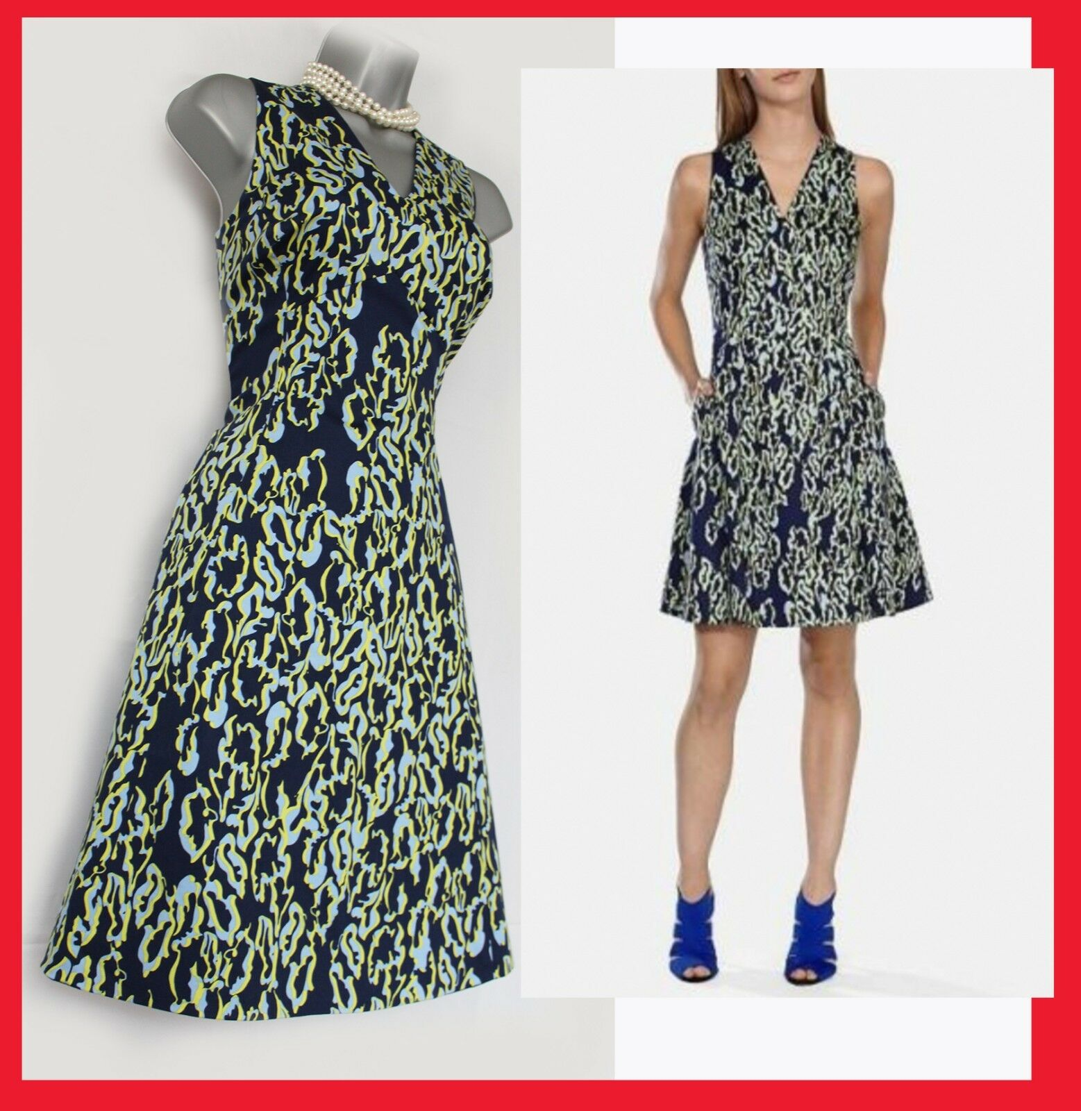 KAREN MILLEN Navy Print Cotton Side Pocket Rockabilly Casual Party Dress UK10 38