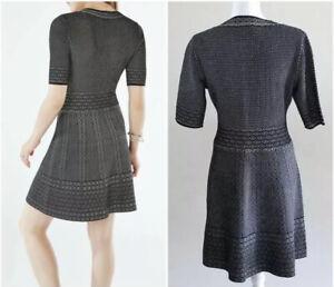 BCBGMAXAZRIA-Dress-Sz-S-Bettina-Black-V-Neckline-A-Line-Knit