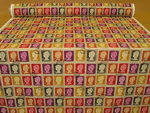 Half-Metre-Of-Prestigious-First-Class-Stamps-Mulberry-Curtain-Upholstery-Fabric