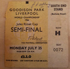 1966 World Cup Semi Final Ticket West Germany v USSR / RUSSIA (Original)