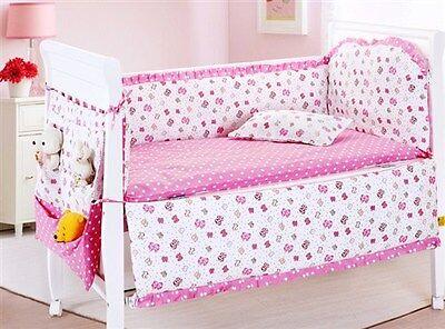 Baby Bedding Crib Cot Bumpers Quilt Sheet Set  - Pink Butterflies