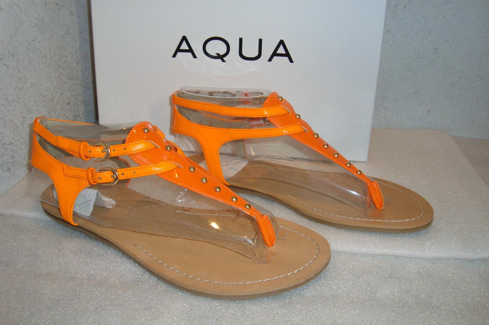 Aqua Womens NWB Famous orange Leather Sandals shoes 6.5 MED NEW