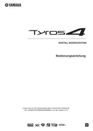 YAMAHA Tyros 4 Keyboard Bedienungsanleitung Druckservice  k0914 Sprache DEUTSCH