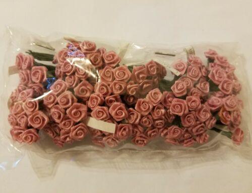 """Lot 144 pcs Mini Tiny Pink Satin Ribbon Roses Flowers 10mm 3//8/"""" on Wire Stem"""