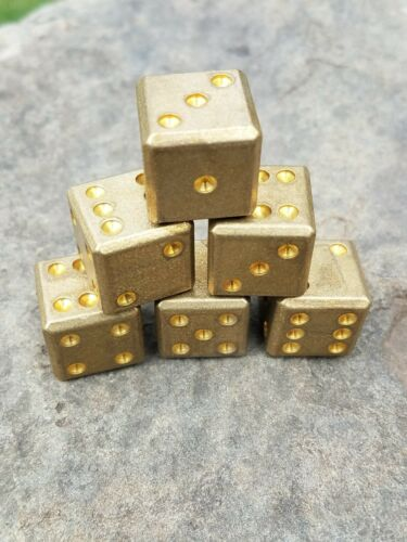 Set of 6 Solid Brass Dice Perfect for Games Gifts or Display!