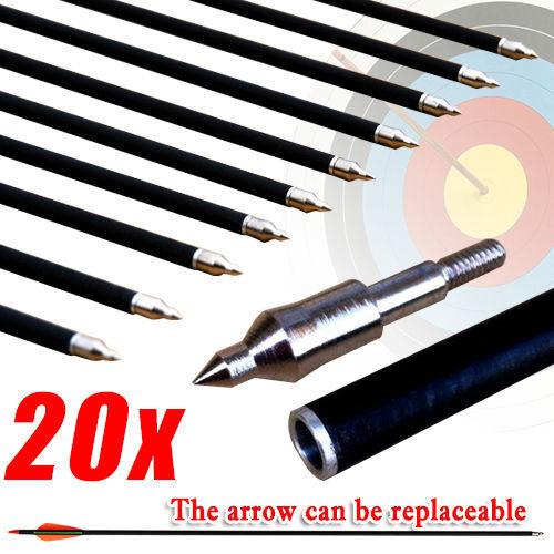 "Premium 20 x 32"" Fiberglass Arrows 15-80lb Screw Hunting Target Compound Bow"