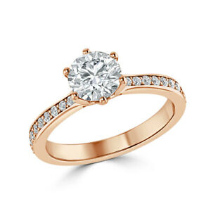 1.30 Ct Round Cut Genuine Moissanite Engagement Ring 14K Solid Rose Gold Size 7