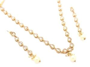 Image Is Loading Simple Lightweight Indian Bollywood Antique Gold Kundan Necklace