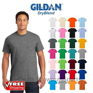 82ae644f Gildan Dry Blend T-Shirt Blank Solid Mens Short Sleeve 50/50 Wicking ...