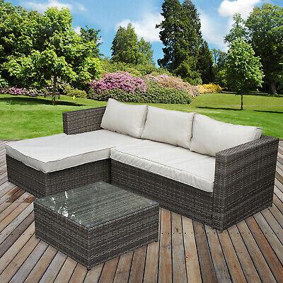 rattan sofa set garden corner l shaped outdoor patio furniture set seating  table 5055493878969   ebay