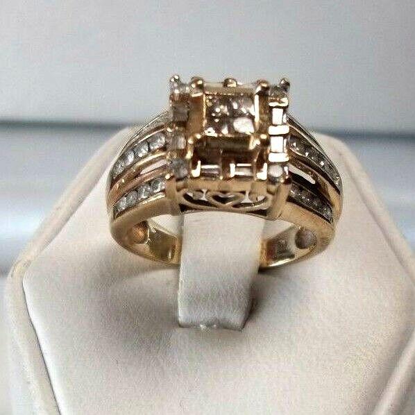 BEAUTIFUL  14K gold PRINCESS ROUND BAGUETTE 1.0ct. DIAMOND ESTATE RING SO NICE
