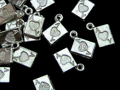 25 x Bright Tibetan Silver 11mm Card Suit  Charms Jewellery Gift Magic  W176