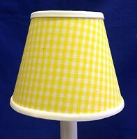 Yellow & White Gingham Check Chandelier / Electric Candle Lampshade Lamp Shade