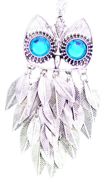 Vintage movable joint antique silver coloured owl necklace