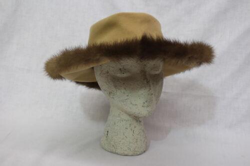 Vintage Brown EXCELLO Fur Trim Hat, 100% Wool, Des