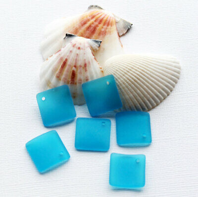U046 2 Sea Glass Pendants Cultured Curved Bottle Shape with Drilled Hole