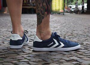 Hummel-Sports-Schuhe-SLIMMER-STADIL-LOW-63-512-7647-dress-blue-Canvas-blau-NEU