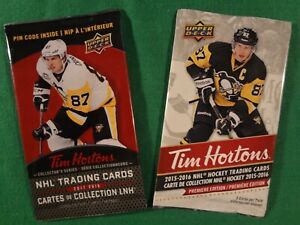 LOT-OF-2-UPPER-DECK-TIM-HORTONS-PACKS-2015-16-AND-2017-18-SIDNEY-CROSBY-AUTO