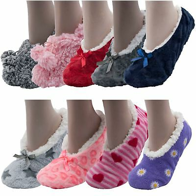 DemüTigen Womens Ladies Girls Cosy Slippers Socks Fleece Lined Warm Fluffy Comfy Footsies