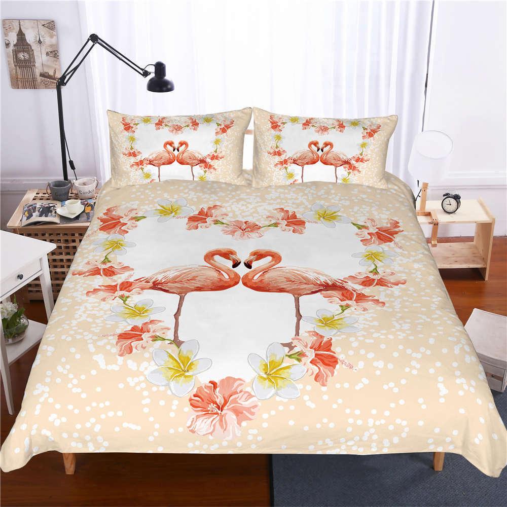 Heart Shap Pink Flame Bird 3D Digital Print Bedding Duvet Quilt Cover Pillowcase