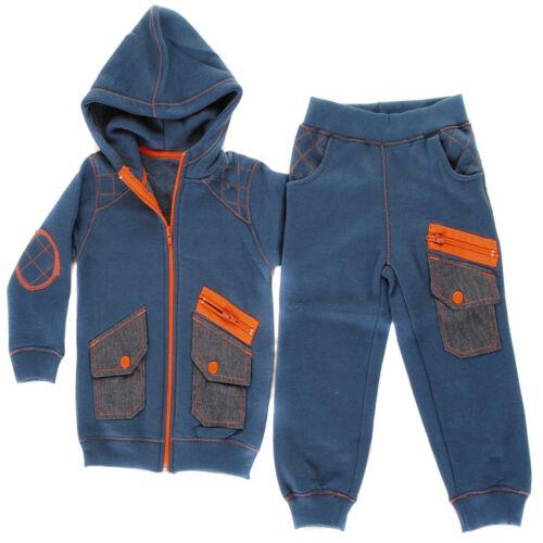 Bébé garçons filles Full Zip Cargo Poche Toddlers Survêtement Bottoms Sweat à Capuche Set...