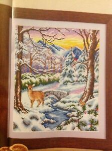 (X6) Winter Wonderland Snow Scene Deer Robin Forest Christmas Cross Stitch Chart