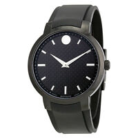 Movado Men's 0606849 Gravity Round Black Strap Watch