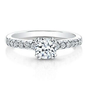 0.82 Ct Certified Moissanite Engagement Ring 18K Solid White Gold ring Size 5 6