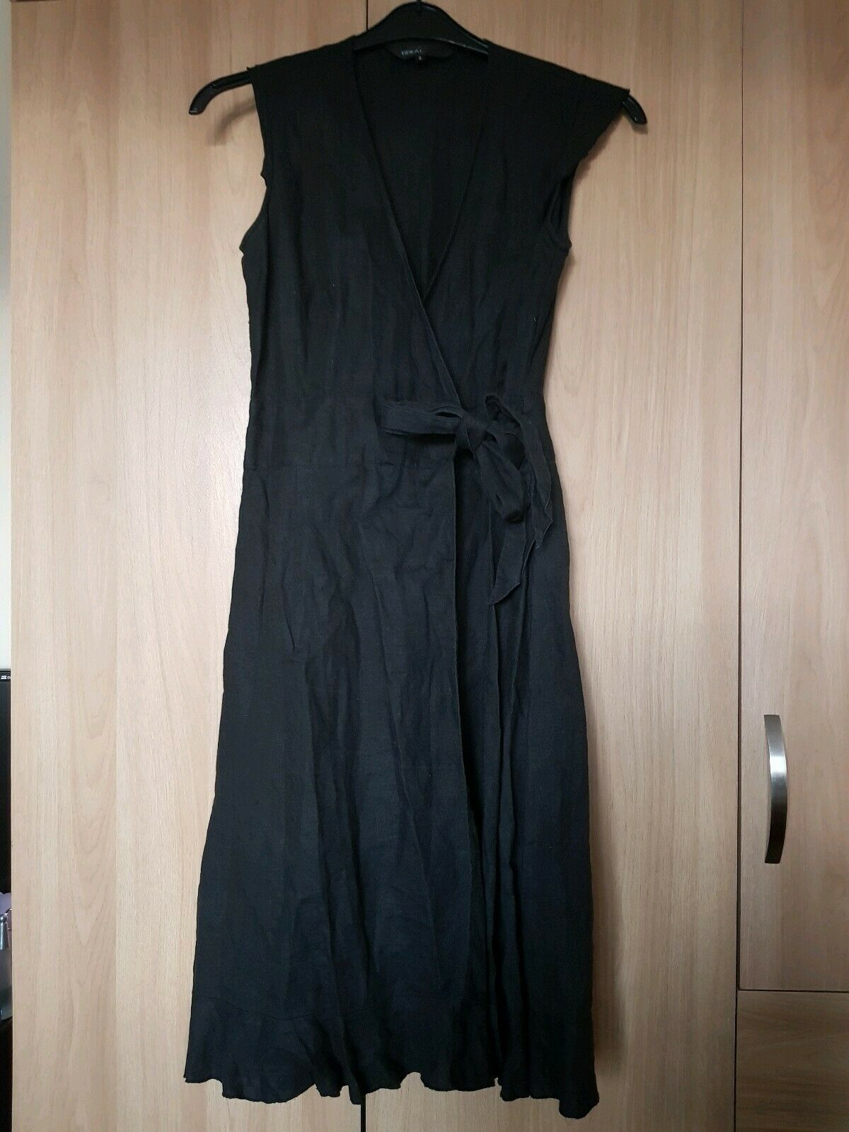 Great Plains Linen Black Wrap Dress Size Small Uk 8/10