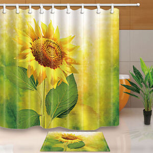 Image Is Loading 3D Sunflower Shower Curtain Bathroom Waterproof Fabric Amp