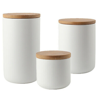 White Ceramic Containers for Flour and Sugar Storage Jar with Lid Airtight